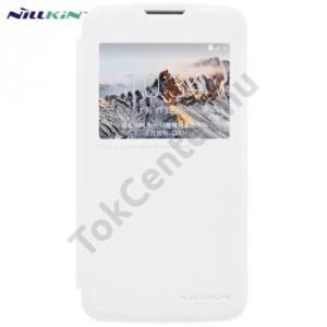 LG K4 (K120e) NILLKIN SPARKLE műanyag telefonvédő (mikroszálas bőr flip, oldalra nyíló, hívószámkijelzés, View Window) FEHÉR