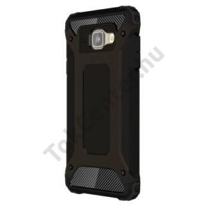 Samsung Galaxy A7 (2016) (SM-A710F) Defender műanyag telefonvédő (közepesen ütésálló, gumi / szilikon belső, fémhatás) FEKETE