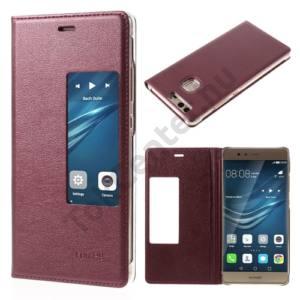 Huawei P9 Tok álló, bőr (FLIP, oldalra nyíló, S-View Cover) BORDÓ