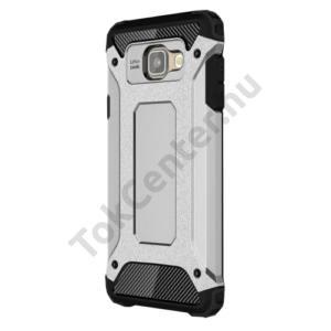 Samsung Galaxy A7 (2016) (SM-A710F) Defender műanyag telefonvédő (közepesen ütésálló, gumi / szilikon belső, fémhatás) EZÜST