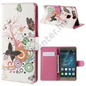 Huawei P9 Tok álló, bőr (FLIP, oldalra nyíló, asztali tartó funkció, pillangó, körminta) FEHÉR