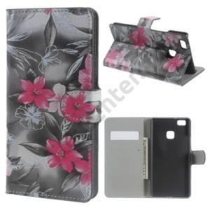 Huawei P9 lite Tok álló, bőr (FLIP, oldalra nyíló, asztali tartó funkció, rózsaszín virágminta) SZÜRKE