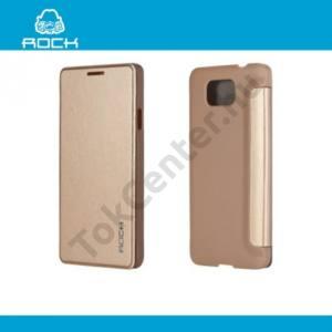 Samsung Galaxy Alpha (SM-G850) ROCK UNI műanyag telefonvédő (FLIP, oldalra nyíló) ARANY