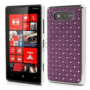 Nokia Lumia 820 Műanyag telefonvédő (strasszkő) LILA