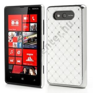 Nokia Lumia 820 Műanyag telefonvédő (strasszkő) FEHÉR