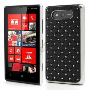 Nokia Lumia 820 Műanyag telefonvédő (strasszkő) FEKETE