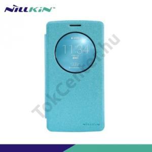 LG G3 S (D722) NILLKIN SPARKLE műanyag telefonvédő (mikroszálas bőr flip, oldalra nyíló) VILÁGOSKÉK