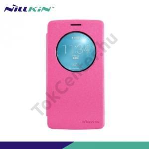 LG G3 S (D722) NILLKIN SPARKLE műanyag telefonvédő (mikroszálas bőr flip, oldalra nyíló) MAGENTA