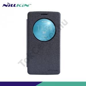 LG G3 S (D722) NILLKIN SPARKLE műanyag telefonvédő (mikroszálas bőr flip, oldalra nyíló) FEKETE