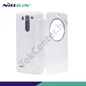 LG G3 S (D722) NILLKIN SPARKLE műanyag telefonvédő (mikroszálas bőr flip, oldalra nyíló) FEHÉR