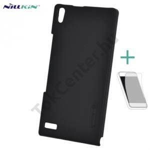 Huawei Ascend P6 (P6-U06) NILLKIN SUPER FROSTED műanyag telefonvédő (gumírozott, érdes felület, képernyővédő fólia, tisztítókendő) FEKETE