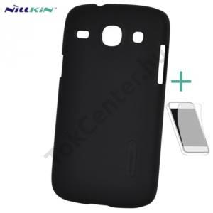 Samsung Galaxy Core (GT-I8260) NILLKIN SUPER FROSTED műanyag telefonvédő (gumírozott, érdes felület, képernyővédő fólia, tisztítókendő) FEKETE