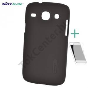 Samsung Galaxy Core (GT-I8260) NILLKIN SUPER FROSTED műanyag telefonvédő (gumírozott, érdes felület, képernyővédő fólia, tisztítókendő) BARNA