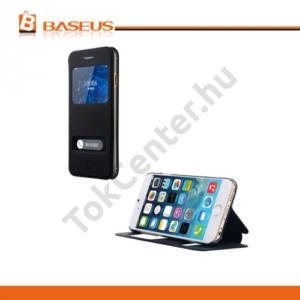 Apple iPhone 6 4.7`` BASEUS PURE tok álló, bőr (FLIP, oldalra nyíló, asztali tartó funkció, S-View cover) FEKETE