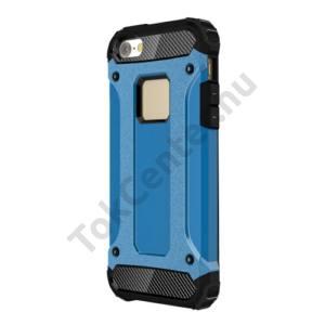 Apple iPhone 5 / 5S / SE Defender műanyag telefonvédő (közepesen ütésálló, gumi / szilikon belső, fémhatás) VILÁGOSKÉK
