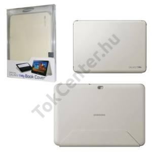 Samsung Galaxy Tab 10.1 (P7500) Műanyag telefonvédő (bőr flip, asztali tartó funkció) CSONTSZÍN
