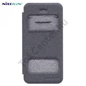 Apple iPhone 5 / 5S / SE NILLKIN SPARKLE műanyag telefonvédő (mikroszálas bőr flip, oldalra nyíló, Dual View Window) FEKETE