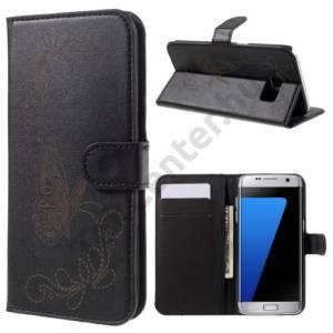 Samsung Galaxy S7 EDGE (SM-G935) Tok álló, bőr (FLIP, mágneses, oldalra nyíló, asztali tartó funkció, gravírozott, pillangó minta) FEKETE