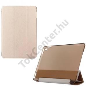 Apple IPAD Pro 9.7 Műanyag telefonvédő (FLIP, oldalra nyíló, TRIFOLD asztali tartó funkció, selyemhatás) ARANY