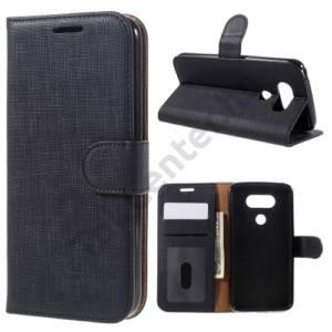 LG G5 (H850) Tok álló, bőr (FLIP, mágneses, oldalra nyíló, asztali tartó funkció, textil hatás) FEKETE
