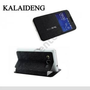 Samsung Galaxy Core 2 (SM-G355) KALAIDENG ICELAND II. tok álló, bőr (FLIP, oldalra nyíló, asztali tartó funkció, QuickWindow) FEKETE