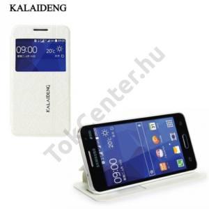 Samsung Galaxy Core 2 (SM-G355) KALAIDENG ICELAND II. tok álló, bőr (FLIP, oldalra nyíló, asztali tartó funkció, QuickWindow) FEHÉR