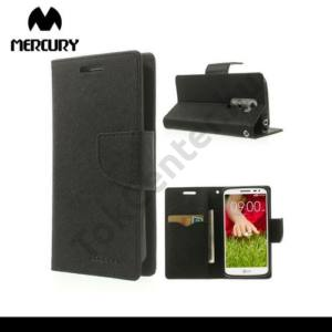 LG G2 mini (D620) MERCURY Fancy Diary tok álló, bőr (FLIP, mágneses, oldalra nyíló, bankkártya tartó, asztali tartó funkció) FEKETE