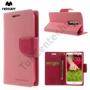 LG G2 mini (D620) MERCURY Fancy Diary tok álló, bőr (FLIP, mágneses, oldalra nyíló, bankkártya tartó, asztali tartó funkció) RÓZSASZÍN