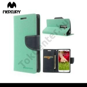 LG G2 mini (D620) MERCURY Fancy Diary tok álló, bőr (FLIP, mágneses, oldalra nyíló, bankkártya tartó, asztali tartó funkció) CYAN