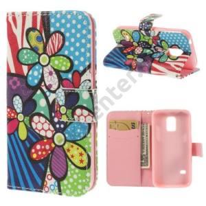 Samsung Galaxy S V. mini (SM-G800) Tok álló, bőr (FLIP, mágneses, oldalra nyíló, bankkártya tartó, asztali tartó funkció, virágminta) SZÍNES