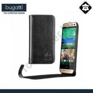 HTC One Mini 2 BUGATTI BookCover OSLO tok álló, valódi bőr (FLIP, oldalra nyíló) FEKETE