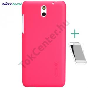 HTC Desire 610 NILLKIN SUPER FROSTED műanyag telefonvédő (gumírozott, érdes felület, képernyővédő fólia, tisztítókendő) PIROS