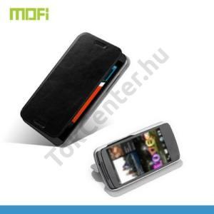 HTC Desire 610 MOFI RUI tok álló, bőr (FLIP, oldalra nyíló, asztali tartó funkció, szilikon tartó) FEKETE