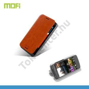 HTC Desire 610 MOFI RUI tok álló, bőr (FLIP, oldalra nyíló, asztali tartó funkció, szilikon tartó) BARNA