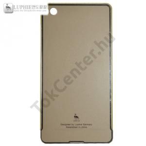 Huawei P8 LUPHIE telefonvédő alumínium keret (BUMPER, kihúzható akril hátlap) ARANY