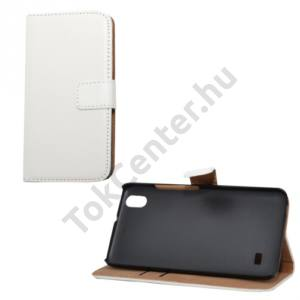 Huawei Ascend G620s Tok álló, bőr (FLIP, mágneses, oldalra nyíló, bankkártya  tartó, asztali tartó funkció) FEHÉR