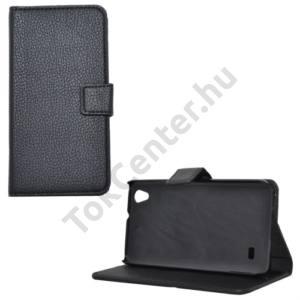 Huawei Ascend G620s Tok álló, bőr (FLIP, mágneses, oldalra nyíló, bankkártya  tartó, asztali tartó funkció) FEKETE