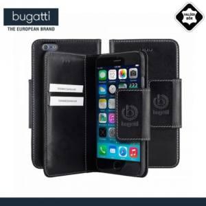 Apple iPhone 6 Plus 5.5`` BUGATTI BookCover AMSTERDAM tok álló, valódi bőr (FLIP, mágneses, oldalra nyíló, bankkártya tartó) FEKETE