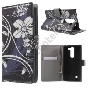 LG G4c (H525n) Tok álló, bőr (FLIP, mágneses, oldalra nyíló, bankkártya tartó, asztali tartó funkció, fehér virágminta) FEKETE