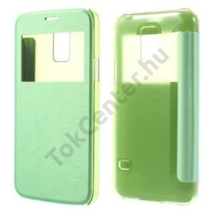 Samsung Galaxy S V. mini (SM-G800) Műanyag telefonvédő (bőr flip, oldalra nyíló, átlátszó hátlap, S-View Cover) ZÖLD