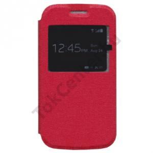 Samsung Galaxy Ace 4 LTE (SM-G357FZ) Tok álló, bőr (FLIP, oldalra nyíló, S-View Cover) PIROS
