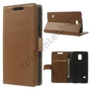 Samsung Galaxy S V. mini (SM-G800) Tok álló, bőr (FLIP, mágneses, oldalra nyíló, bankkártya tartó, asztali tartó funkció) SÖTÉTBARNA