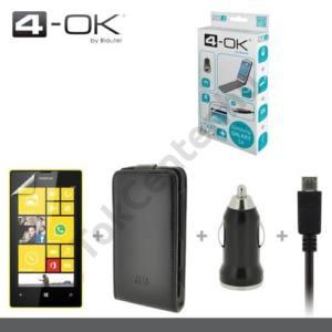 Nokia Lumia 520 4-OK kezdőcsomag (képernyővédő fólia, flip tok, szivartöltő adapter, USB aljzat, microUSB kábel) FEKETE