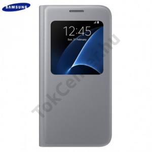 Samsung Galaxy S7 (SM-G930) Tok álló, bőr (FLIP, oldalra nyíló, S-View Cover) EZÜST