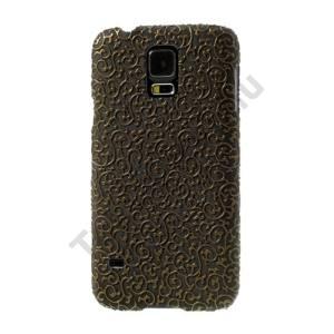 Samsung Galaxy S V. (SM-G900) Műanyag telefonvédő (bőrhatás, virágmintás) ARANY/FEKETE