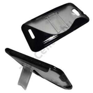 HTC One X (S720e) Műanyag telefonvédő (gumi / szilikon betét, kitámasztó, S-line) FEKETE