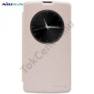 LG L80+ L Bello (D331)  NILLKIN SPARKLE műanyag telefonvédő (mikroszálas bőr flip, oldalra nyíló, hívószámkijelzés, View Window) ARANY