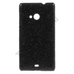 Microsoft Lumia 535 Műanyag telefonvédő (csillogó, flitteres) FEKETE