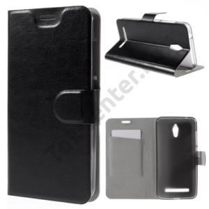 Asus Zenfone Go (ZC500TG) Tok álló, bőr (FLIP, oldalra nyíló, asztali tartó funkció) FEKETE