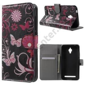 Asus Zenfone Go (ZC500TG) Tok álló, bőr (FLIP, oldalra nyíló, asztali tartó funkció, pillangó, virágminta) FEKETE